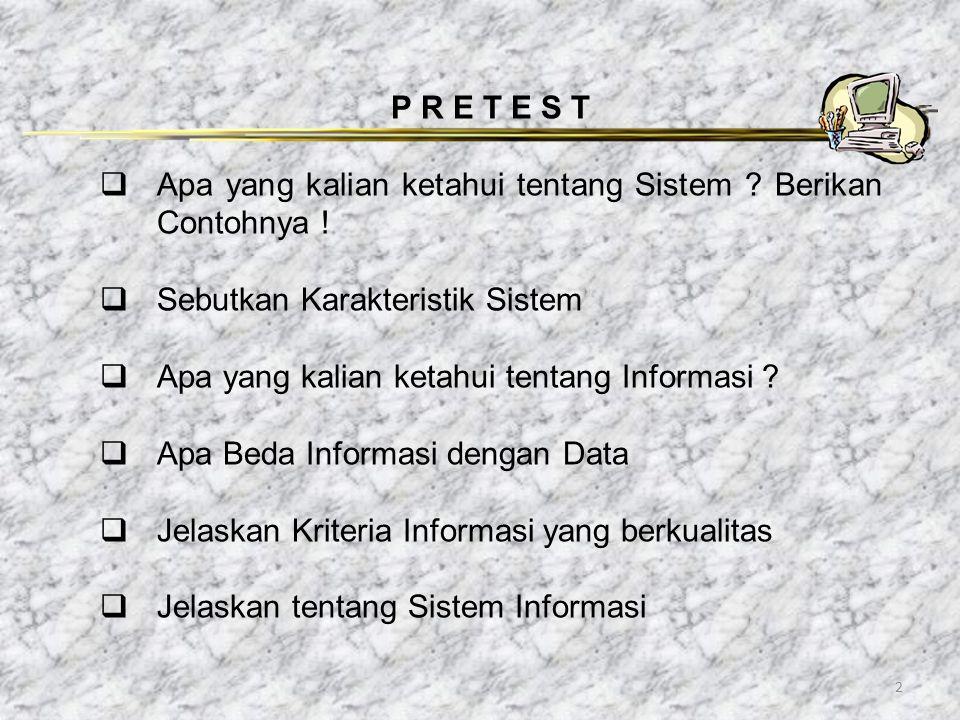 2 P R E T E S T  Apa yang kalian ketahui tentang Sistem ? Berikan Contohnya !  Sebutkan Karakteristik Sistem  Apa yang kalian ketahui tentang Infor