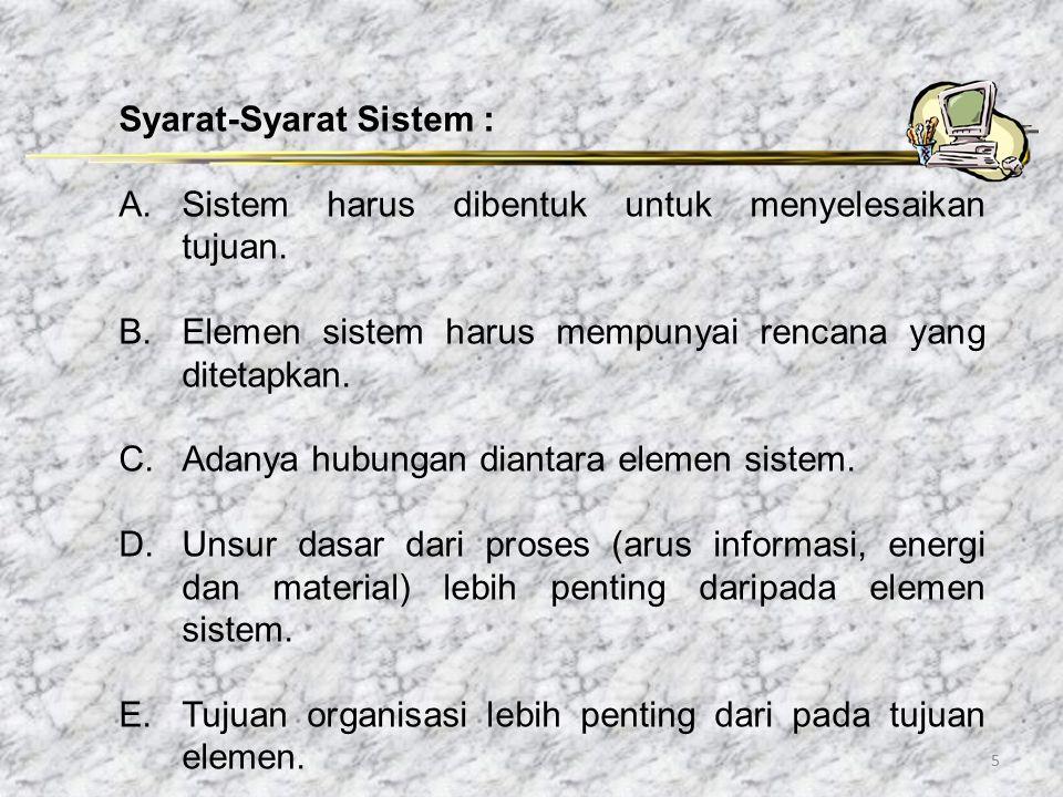 5 Syarat-Syarat Sistem : A. Sistem harus dibentuk untuk menyelesaikan tujuan. B.Elemen sistem harus mempunyai rencana yang ditetapkan. C.Adanya hubung