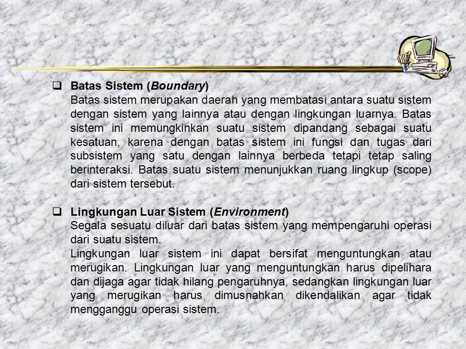 7  Batas Sistem (Boundary) Batas sistem merupakan daerah yang membatasi antara suatu sistem dengan sistem yang lainnya atau dengan lingkungan luarnya