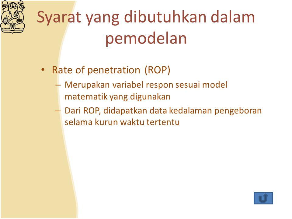 Syarat yang dibutuhkan dalam pemodelan Rate of penetration (ROP) – Merupakan variabel respon sesuai model matematik yang digunakan – Dari ROP, didapat