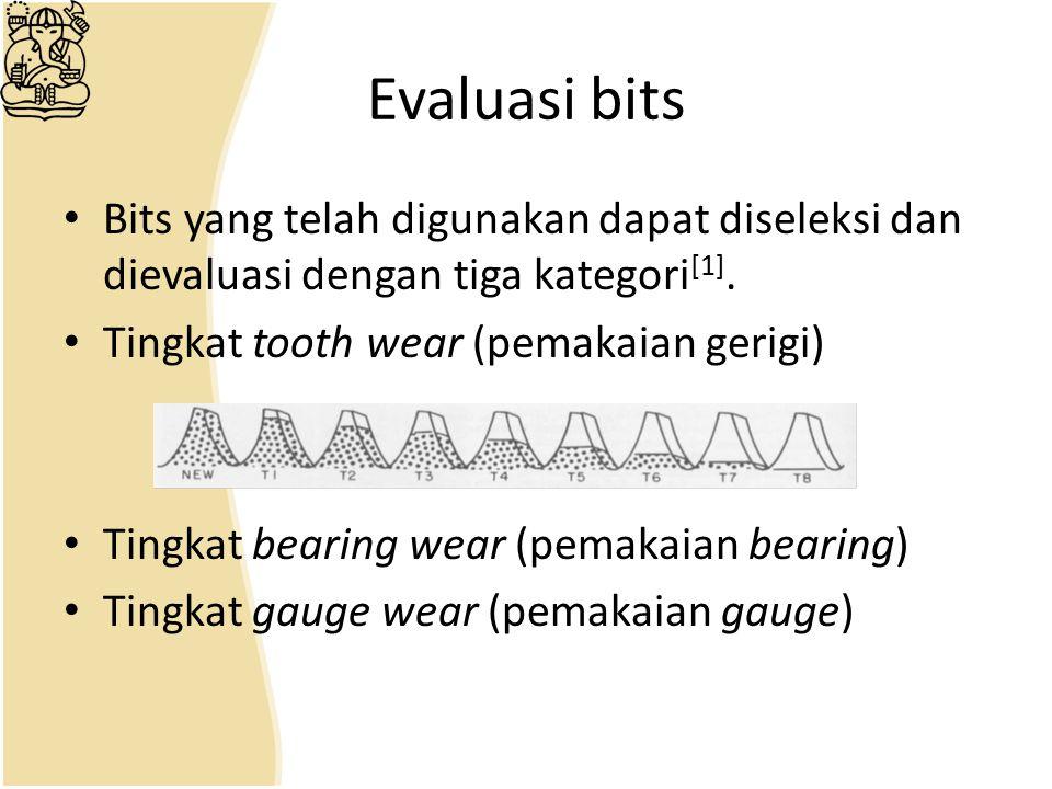 Evaluasi bits Bits yang telah digunakan dapat diseleksi dan dievaluasi dengan tiga kategori [1]. Tingkat tooth wear (pemakaian gerigi) Tingkat bearing
