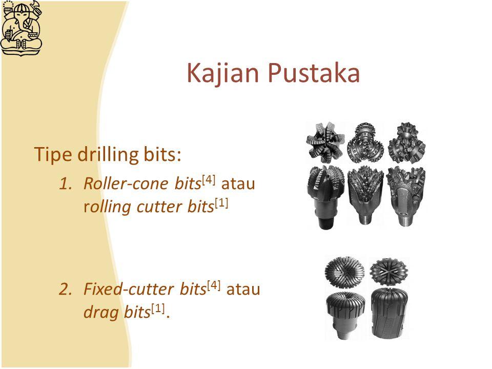 Tipe drilling bits: 1.Roller-cone bits [4] atau rolling cutter bits [1] 2.Fixed-cutter bits [4] atau drag bits [1]. Kajian Pustaka