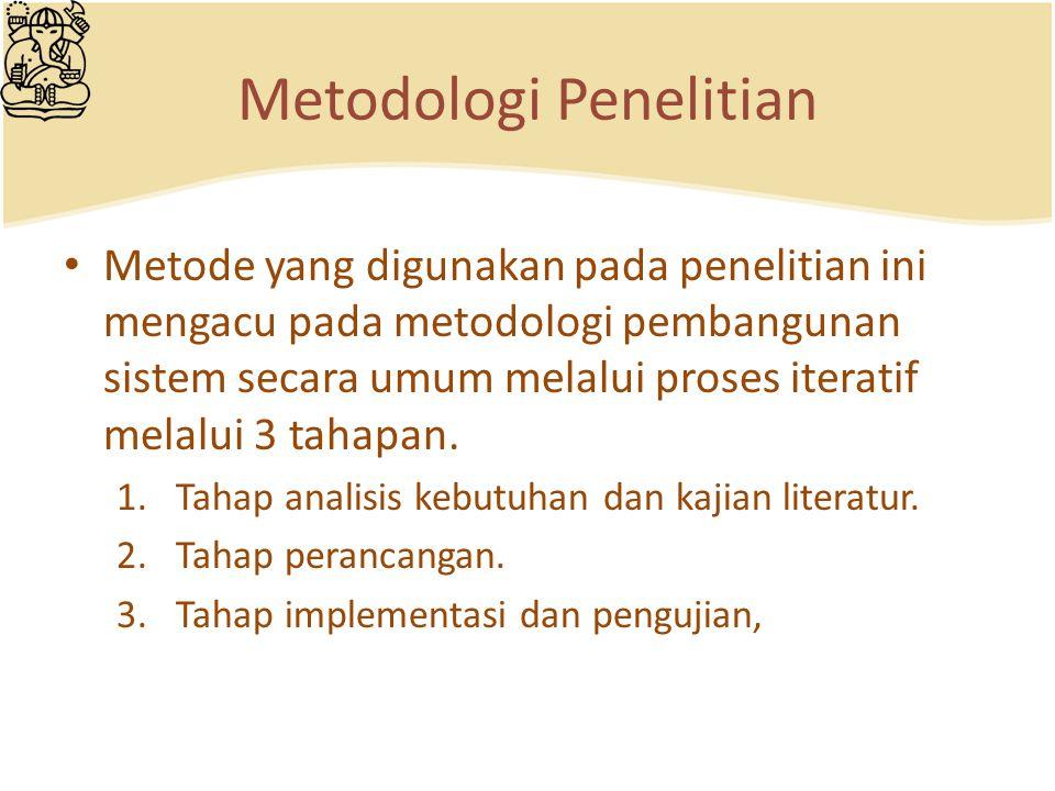 Metodologi Penelitian Metode yang digunakan pada penelitian ini mengacu pada metodologi pembangunan sistem secara umum melalui proses iteratif melalui