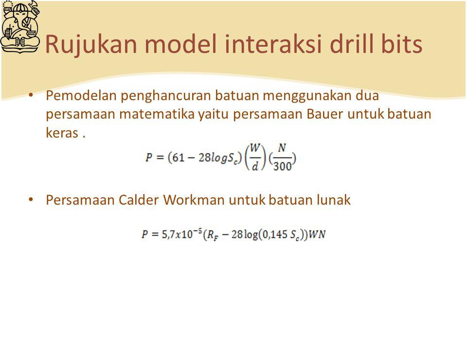 Rujukan model interaksi drill bits Pemodelan penghancuran batuan menggunakan dua persamaan matematika yaitu persamaan Bauer untuk batuan keras. Persam