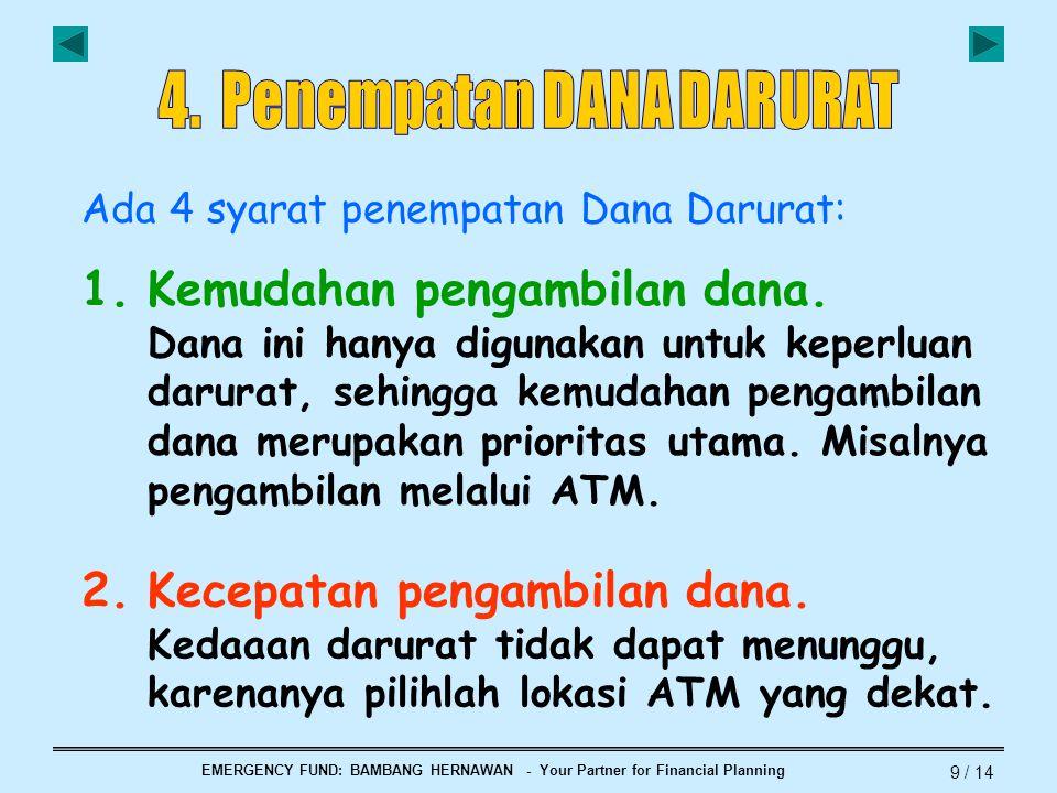 EMERGENCY FUND: BAMBANG HERNAWAN - Your Partner for Financial Planning 9 / 14 Ada 4 syarat penempatan Dana Darurat: 1.Kemudahan pengambilan dana. Dana