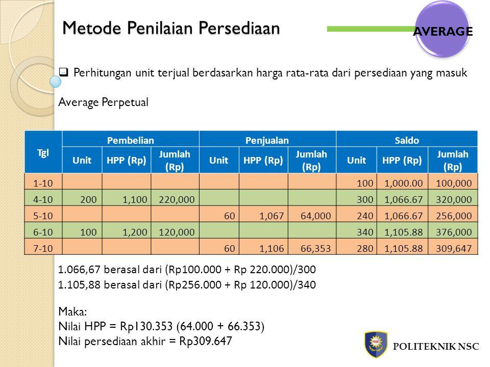 Metode Penilaian Persediaan POLITEKNIK NSC  Perhitungan unit terjual berdasarkan harga rata-rata dari persediaan yang masuk Average Perpetual Maka: N