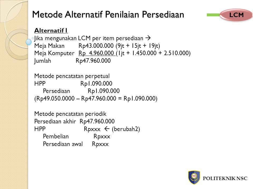 Metode Alternatif Penilaian Persediaan POLITEKNIK NSC LCM Alternatif 1 Jika mengunakan LCM per item persediaan  Meja Makan Rp43.000.000 (9jt + 15jt +