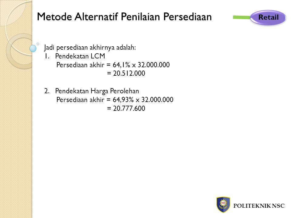 Metode Alternatif Penilaian Persediaan POLITEKNIK NSC Retail Jadi persediaan akhirnya adalah: 1.Pendekatan LCM Persediaan akhir = 64,1% x 32.000.000 =