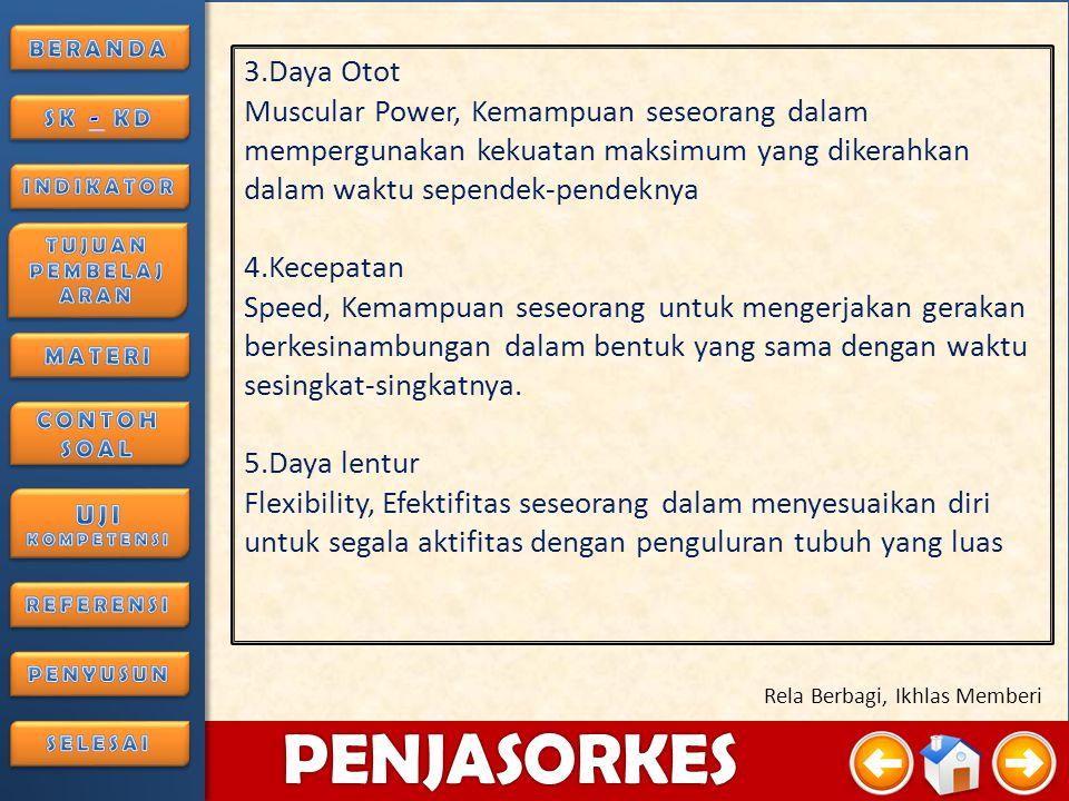 4/3/20159 PENJASORKES Rela Berbagi, Ikhlas Memberi Komponen Kesegaran Jasmani 1.