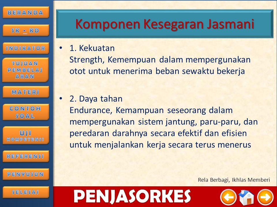 4/3/20157 PENJASORKES Rela Berbagi, Ikhlas Memberi Pengertian Kesegaran Jasmani Kesegaran jasmani adalah kemampuan tubuh seseorang untuk melakukan tug