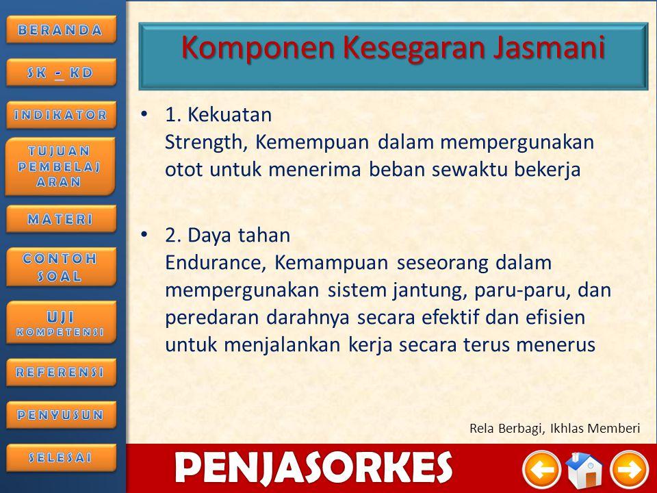 4/3/20158 PENJASORKES Rela Berbagi, Ikhlas Memberi Komponen Kesegaran Jasmani 1.