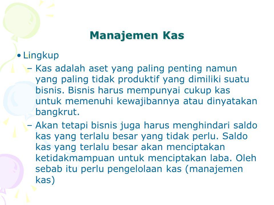 Manajemen Kas Lingkup –Kas adalah aset yang paling penting namun yang paling tidak produktif yang dimiliki suatu bisnis. Bisnis harus mempunyai cukup