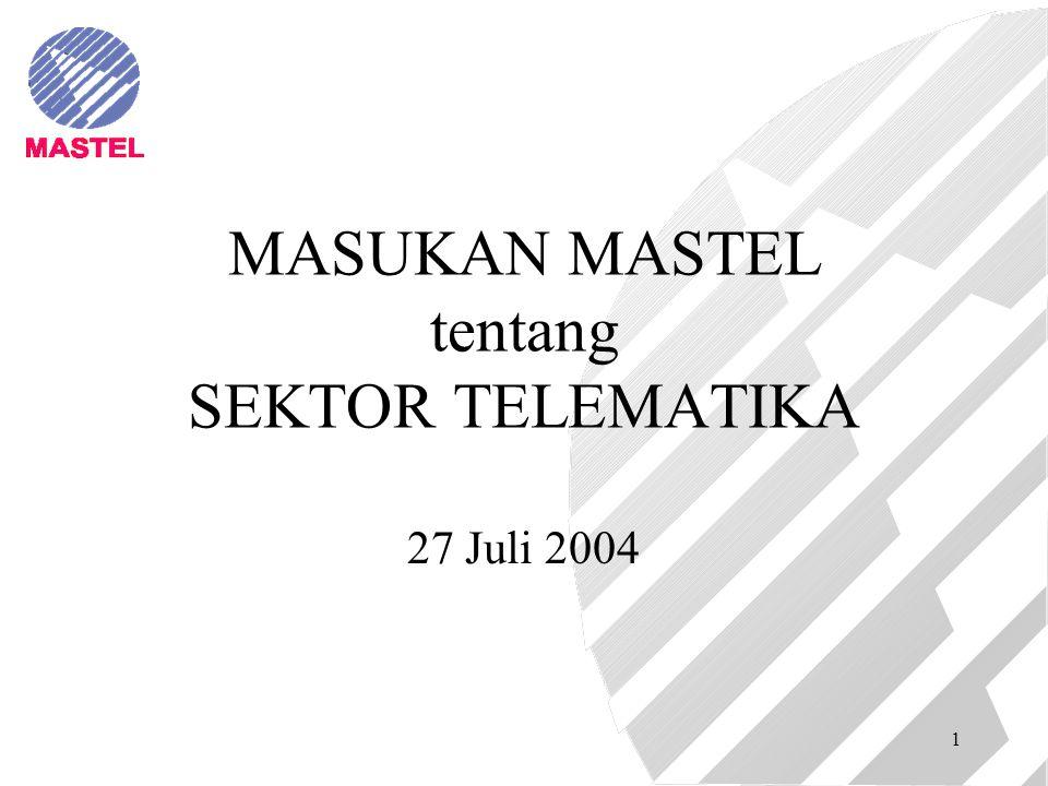 1 MASUKAN MASTEL tentang SEKTOR TELEMATIKA 27 Juli 2004