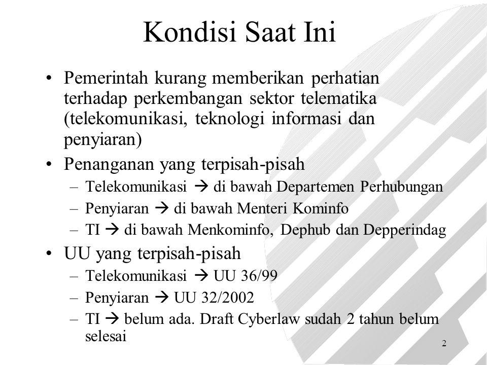 2 Kondisi Saat Ini Pemerintah kurang memberikan perhatian terhadap perkembangan sektor telematika (telekomunikasi, teknologi informasi dan penyiaran) Penanganan yang terpisah-pisah –Telekomunikasi  di bawah Departemen Perhubungan –Penyiaran  di bawah Menteri Kominfo –TI  di bawah Menkominfo, Dephub dan Depperindag UU yang terpisah-pisah –Telekomunikasi  UU 36/99 –Penyiaran  UU 32/2002 –TI  belum ada.