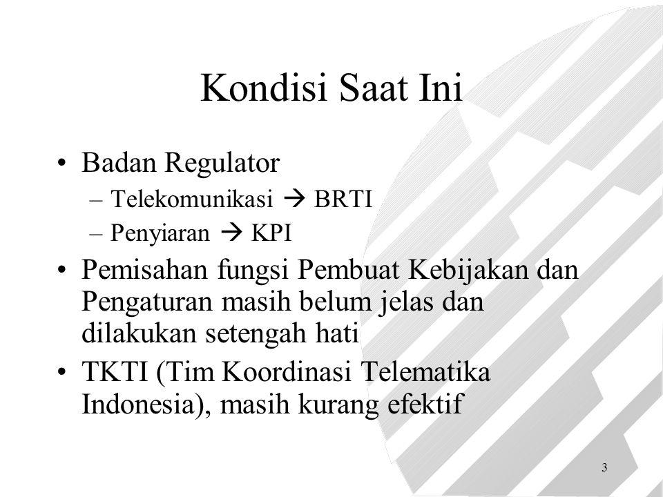 3 Kondisi Saat Ini Badan Regulator –Telekomunikasi  BRTI –Penyiaran  KPI Pemisahan fungsi Pembuat Kebijakan dan Pengaturan masih belum jelas dan dilakukan setengah hati TKTI (Tim Koordinasi Telematika Indonesia), masih kurang efektif