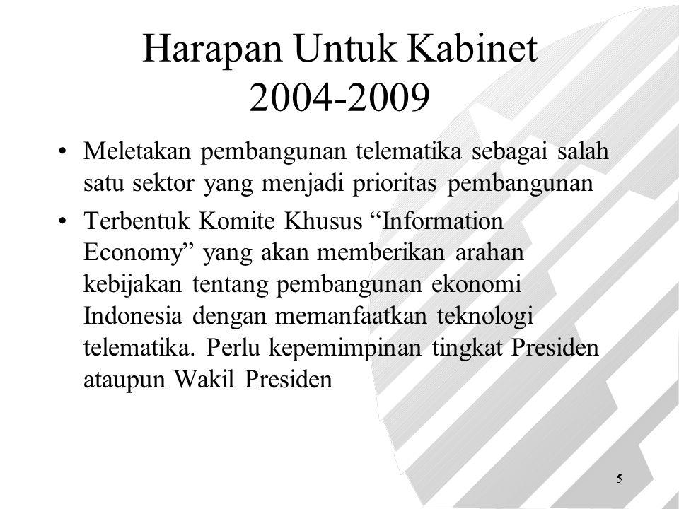 5 Harapan Untuk Kabinet 2004-2009 Meletakan pembangunan telematika sebagai salah satu sektor yang menjadi prioritas pembangunan Terbentuk Komite Khusus Information Economy yang akan memberikan arahan kebijakan tentang pembangunan ekonomi Indonesia dengan memanfaatkan teknologi telematika.