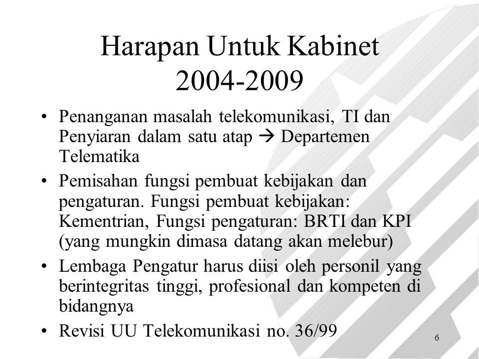6 Harapan Untuk Kabinet 2004-2009 Penanganan masalah telekomunikasi, TI dan Penyiaran dalam satu atap  Departemen Telematika Pemisahan fungsi pembuat kebijakan dan pengaturan.