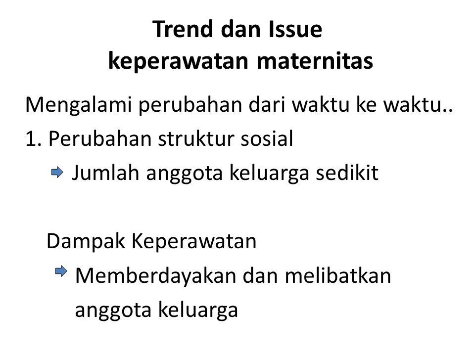 Trend dan Issue keperawatan maternitas Mengalami perubahan dari waktu ke waktu.. 1. Perubahan struktur sosial Jumlah anggota keluarga sedikit Dampak K