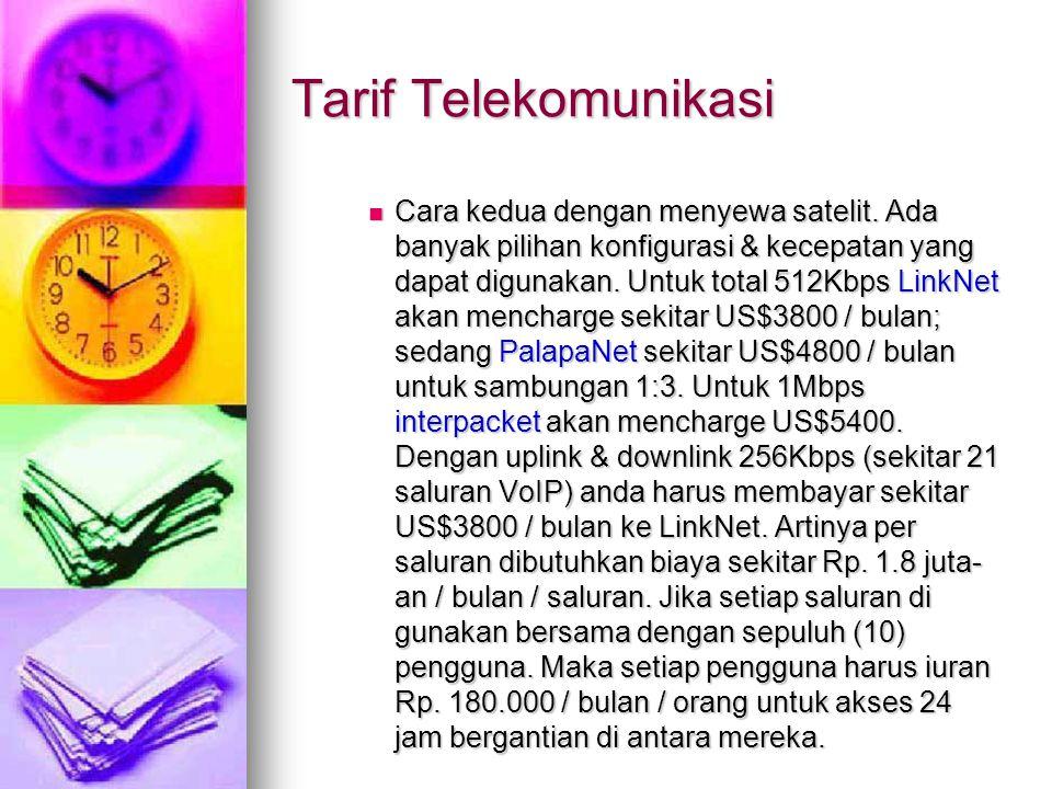 Tarif Telekomunikasi Cara kedua dengan menyewa satelit.