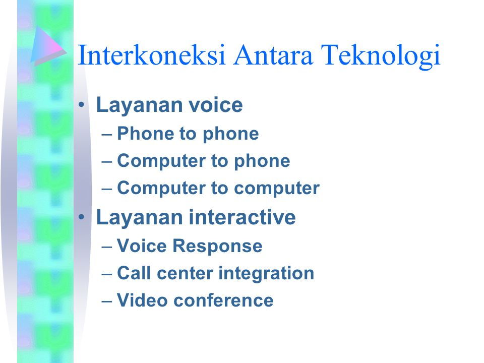 Interkoneksi Antara Teknologi Layanan voice –Phone to phone –Computer to phone –Computer to computer Layanan interactive –Voice Response –Call center integration –Video conference
