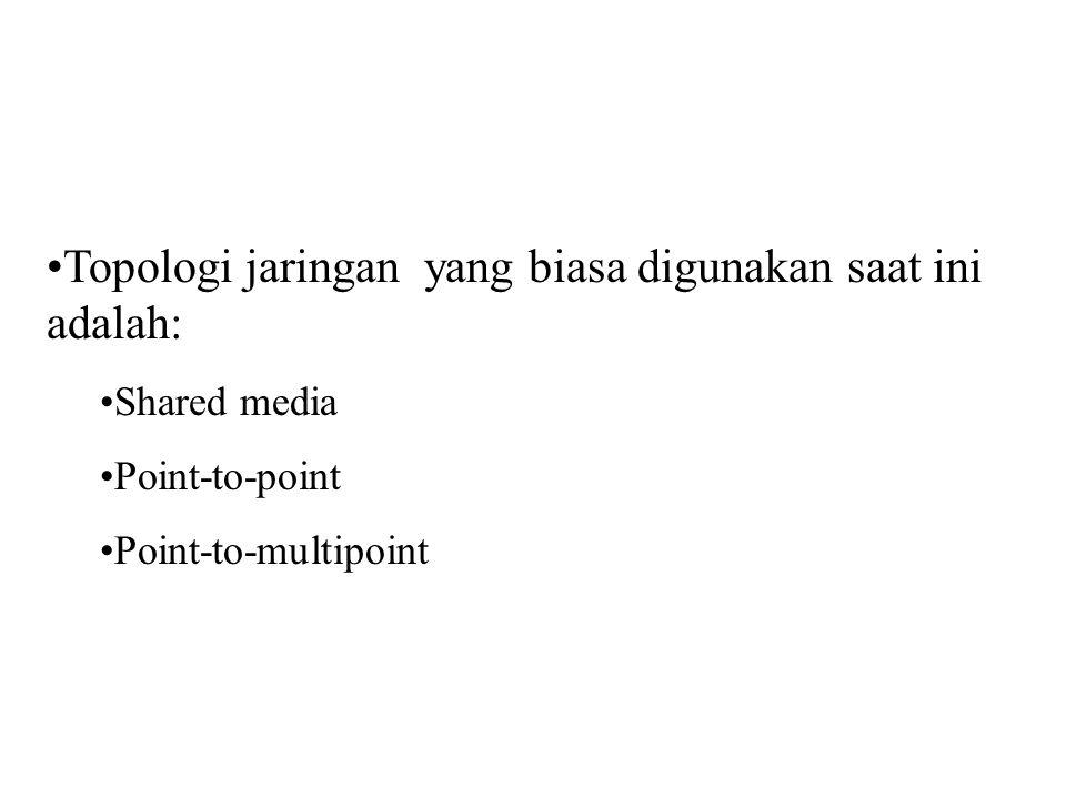 Topologi jaringan yang biasa digunakan saat ini adalah: Shared media Point-to-point Point-to-multipoint