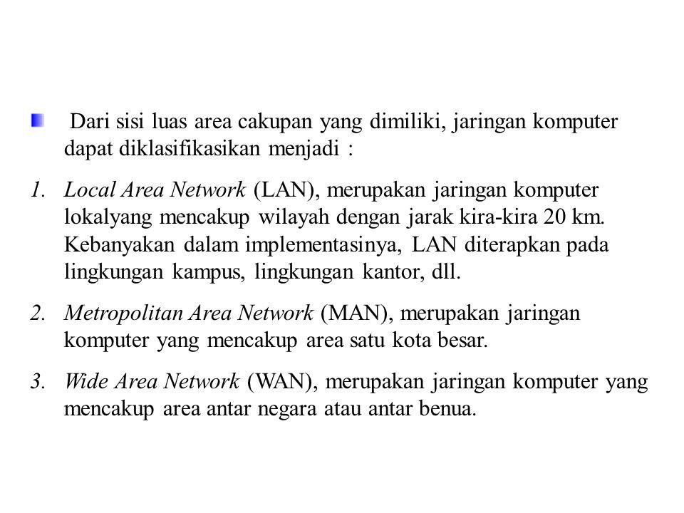 Dari sisi luas area cakupan yang dimiliki, jaringan komputer dapat diklasifikasikan menjadi : 1.Local Area Network (LAN), merupakan jaringan komputer