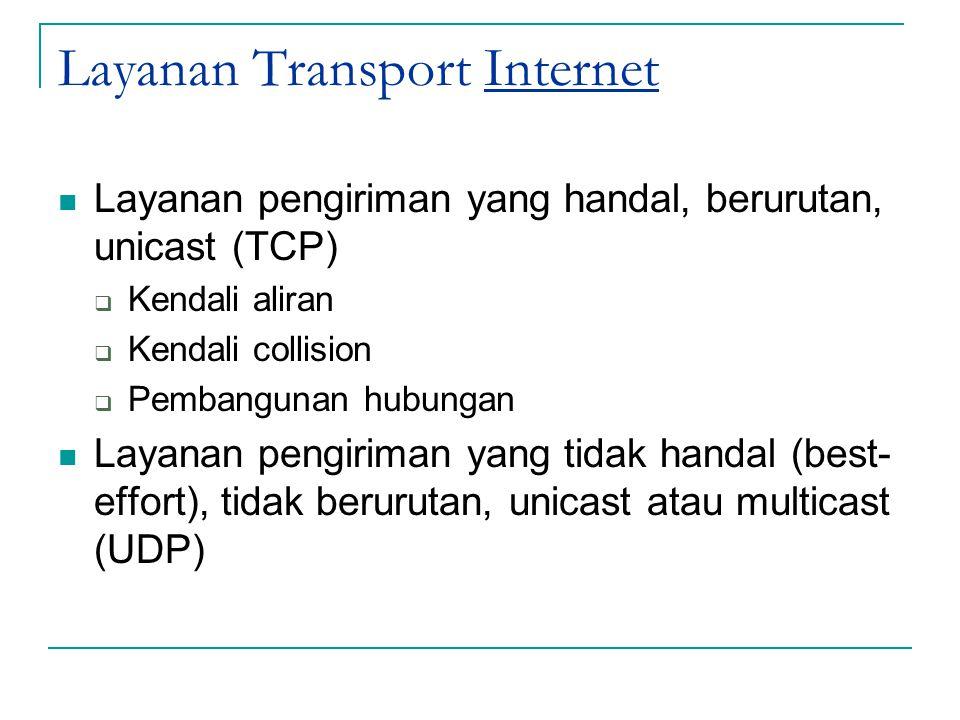 Layanan Transport Internet Layanan pengiriman yang handal, berurutan, unicast (TCP)  Kendali aliran  Kendali collision  Pembangunan hubungan Layana