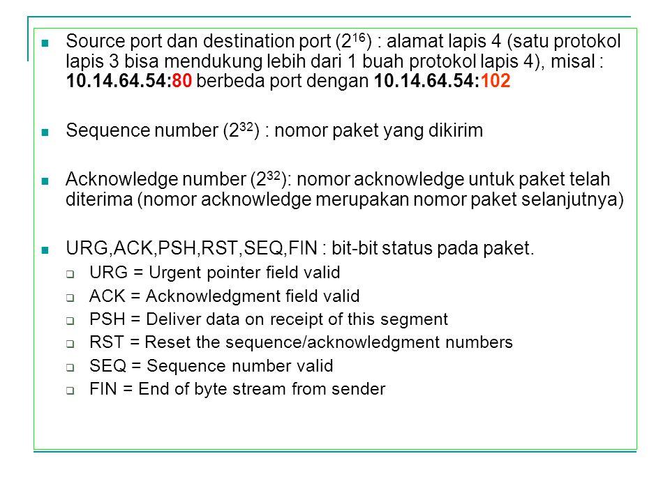 Source port dan destination port (2 16 ) : alamat lapis 4 (satu protokol lapis 3 bisa mendukung lebih dari 1 buah protokol lapis 4), misal : 10.14.64.