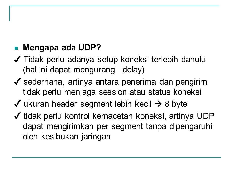 Mengapa ada UDP? ✔ Tidak perlu adanya setup koneksi terlebih dahulu (hal ini dapat mengurangi delay) ✔ sederhana, artinya antara penerima dan pengirim