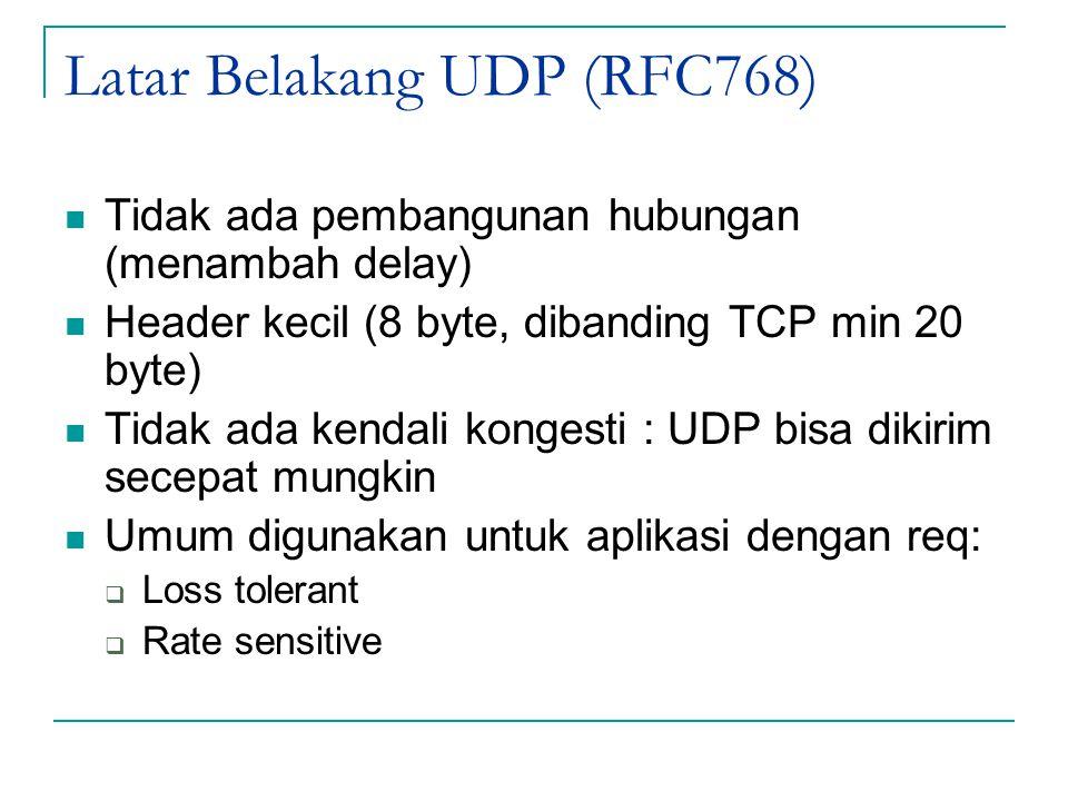Latar Belakang UDP (RFC768) Tidak ada pembangunan hubungan (menambah delay) Header kecil (8 byte, dibanding TCP min 20 byte) Tidak ada kendali kongest