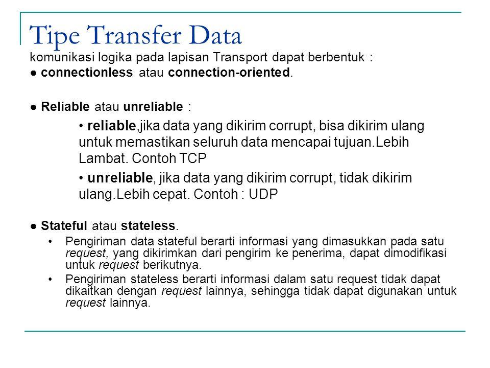 Tipe Transfer Data komunikasi logika pada lapisan Transport dapat berbentuk : ● connectionless atau connection-oriented. ● Reliable atau unreliable :