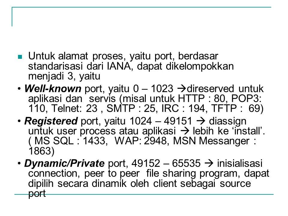 Untuk alamat proses, yaitu port, berdasar standarisasi dari IANA, dapat dikelompokkan menjadi 3, yaitu Well-known port, yaitu 0 – 1023  direserved un