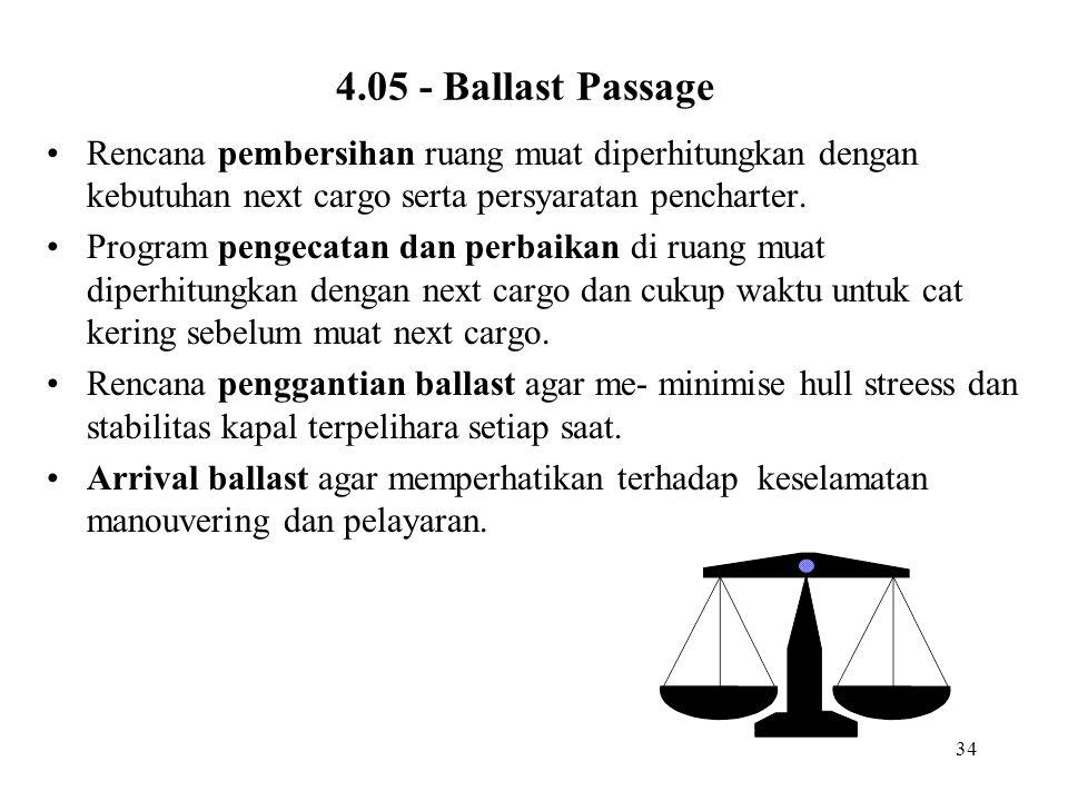 34 4.05 - Ballast Passage Rencana pembersihan ruang muat diperhitungkan dengan kebutuhan next cargo serta persyaratan pencharter. Program pengecatan d