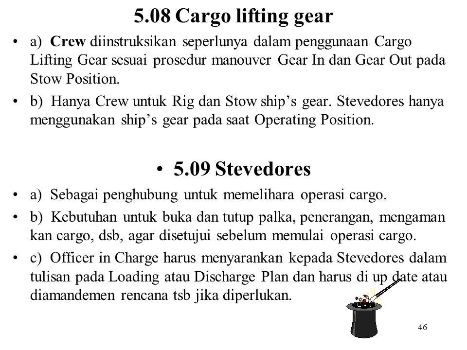 46 5.08 Cargo lifting gear a) Crew diinstruksikan seperlunya dalam penggunaan Cargo Lifting Gear sesuai prosedur manouver Gear In dan Gear Out pada St