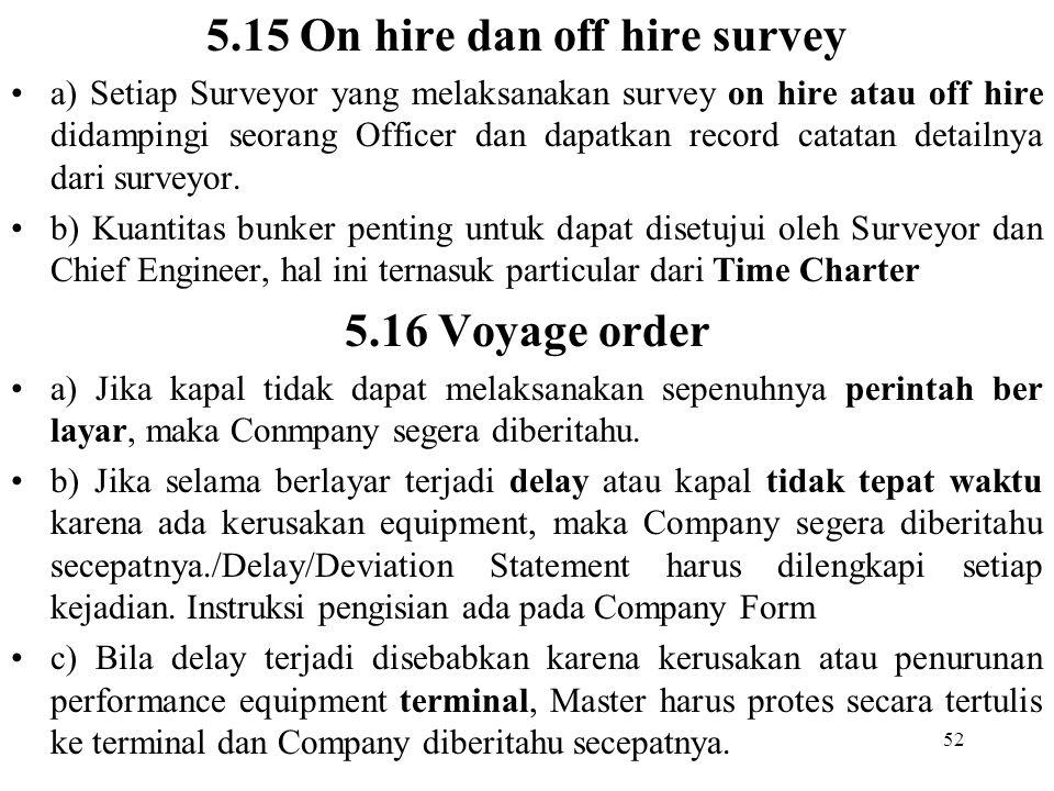 52 5.15 On hire dan off hire survey a) Setiap Surveyor yang melaksanakan survey on hire atau off hire didampingi seorang Officer dan dapatkan record c