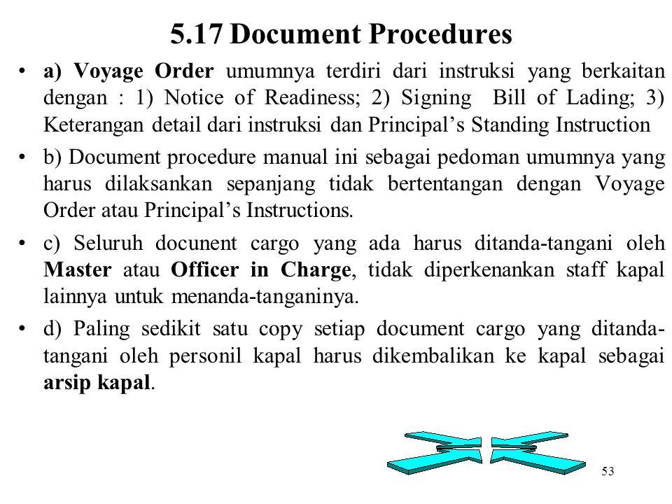 53 5.17 Document Procedures a) Voyage Order umumnya terdiri dari instruksi yang berkaitan dengan : 1) Notice of Readiness; 2) Signing Bill of Lading;