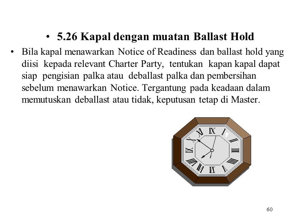 60 5.26 Kapal dengan muatan Ballast Hold Bila kapal menawarkan Notice of Readiness dan ballast hold yang diisi kepada relevant Charter Party, tentukan