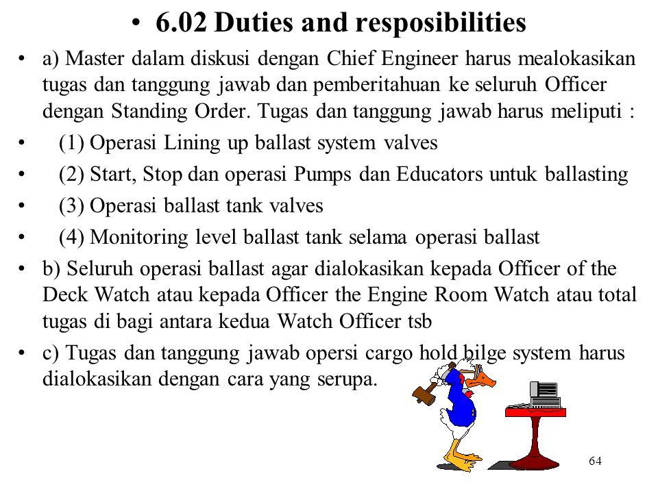 64 6.02 Duties and resposibilities a) Master dalam diskusi dengan Chief Engineer harus mealokasikan tugas dan tanggung jawab dan pemberitahuan ke selu