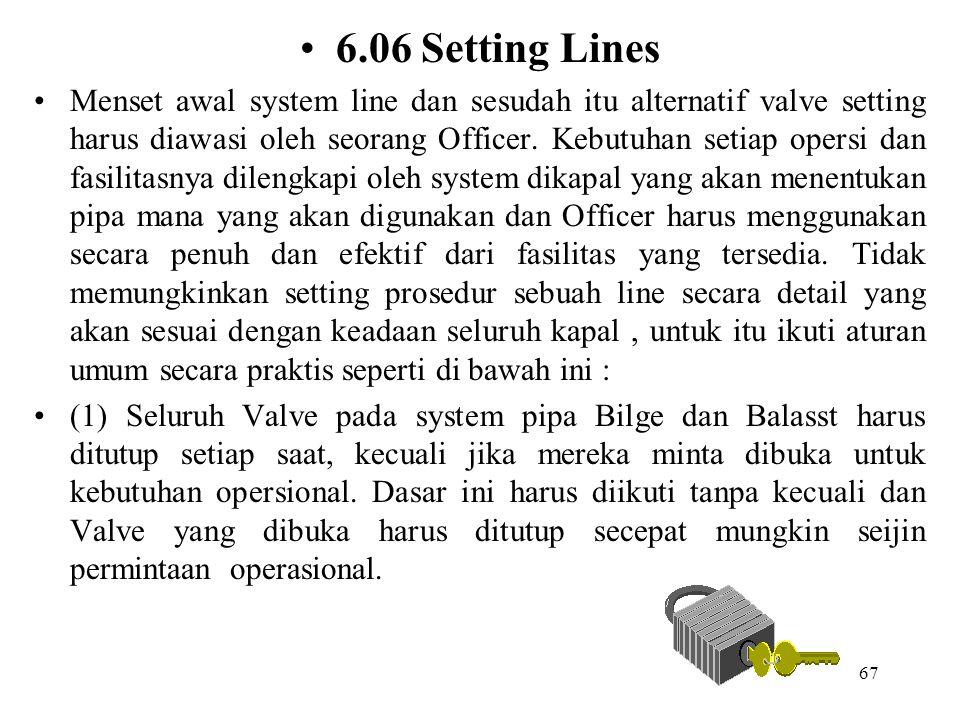 67 6.06 Setting Lines Menset awal system line dan sesudah itu alternatif valve setting harus diawasi oleh seorang Officer. Kebutuhan setiap opersi dan