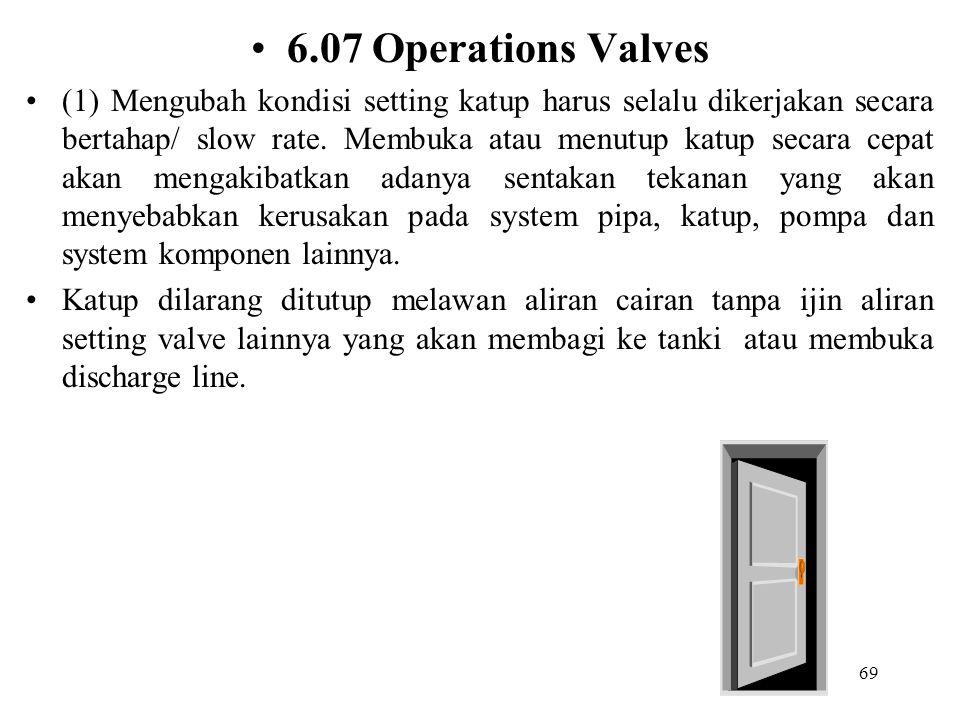 69 6.07 Operations Valves (1) Mengubah kondisi setting katup harus selalu dikerjakan secara bertahap/ slow rate. Membuka atau menutup katup secara cep