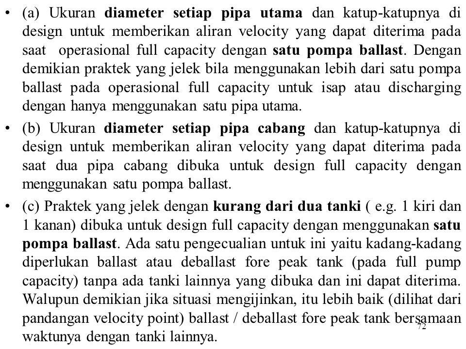 72 (a) Ukuran diameter setiap pipa utama dan katup-katupnya di design untuk memberikan aliran velocity yang dapat diterima pada saat operasional full