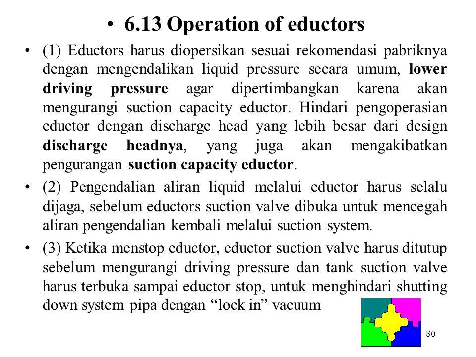 80 6.13 Operation of eductors (1) Eductors harus diopersikan sesuai rekomendasi pabriknya dengan mengendalikan liquid pressure secara umum, lower driv