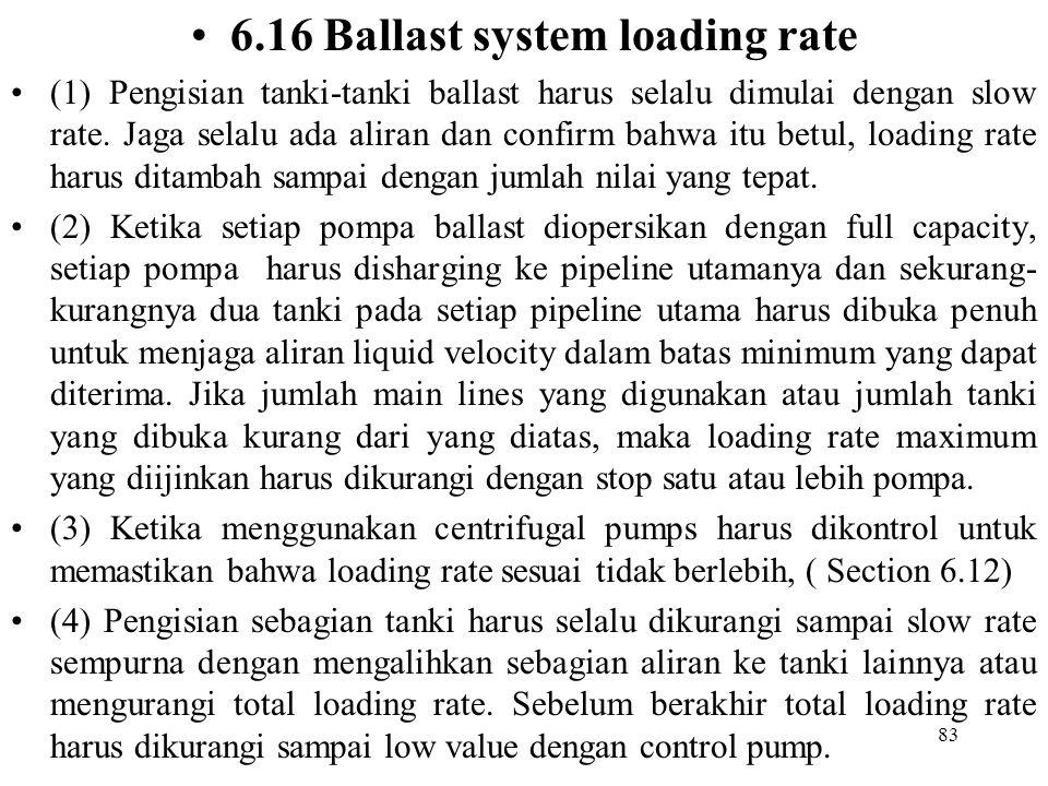 83 6.16 Ballast system loading rate (1) Pengisian tanki-tanki ballast harus selalu dimulai dengan slow rate. Jaga selalu ada aliran dan confirm bahwa