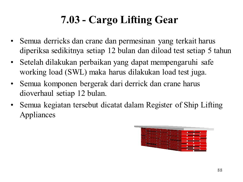 88 7.03 - Cargo Lifting Gear Semua derricks dan crane dan permesinan yang terkait harus diperiksa sedikitnya setiap 12 bulan dan diload test setiap 5