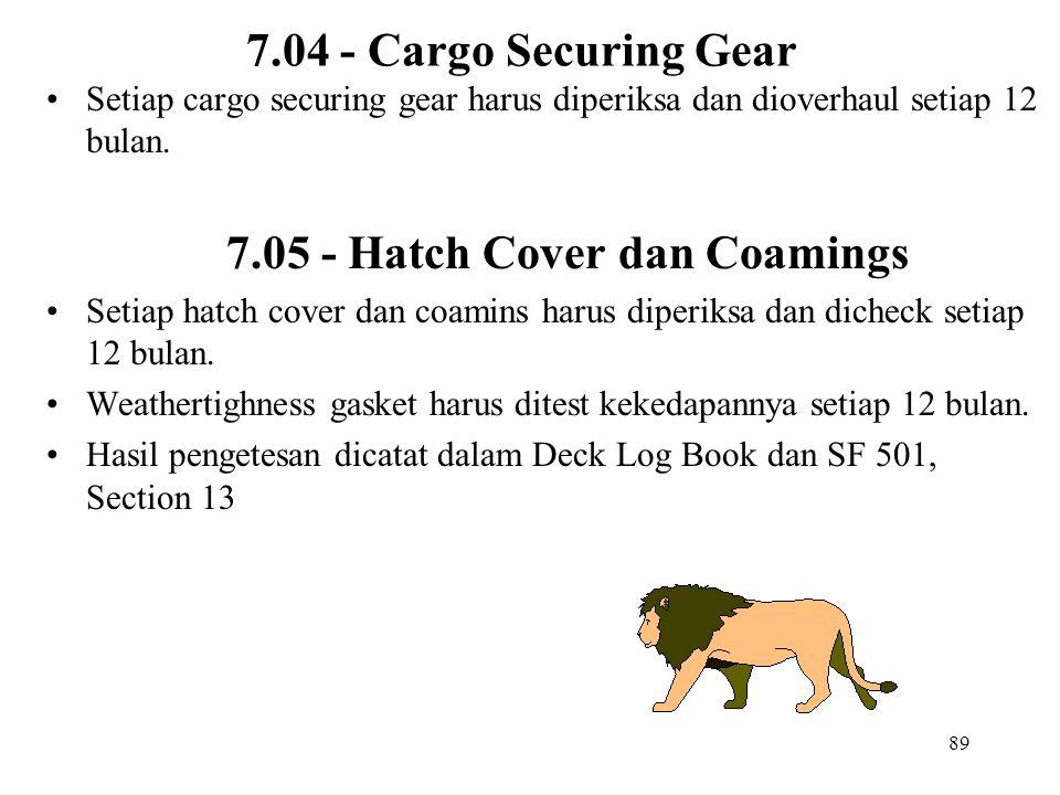 89 7.04 - Cargo Securing Gear Setiap cargo securing gear harus diperiksa dan dioverhaul setiap 12 bulan. 7.05 - Hatch Cover dan Coamings Setiap hatch