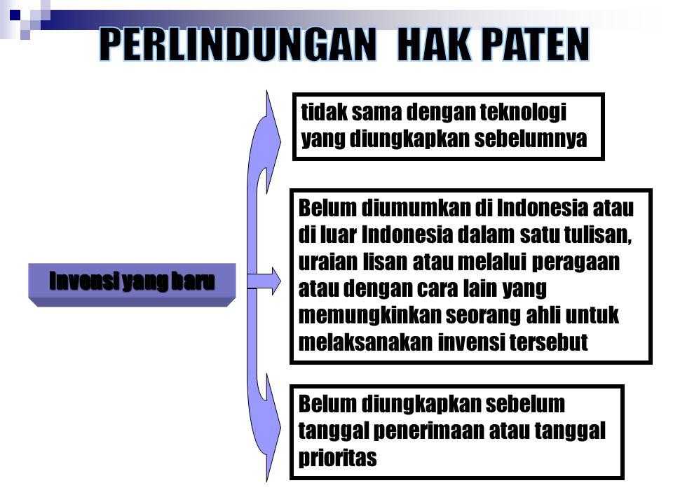 Invensi yang baru tidak sama dengan teknologi yang diungkapkan sebelumnya Belum diumumkan di Indonesia atau di luar Indonesia dalam satu tulisan, urai