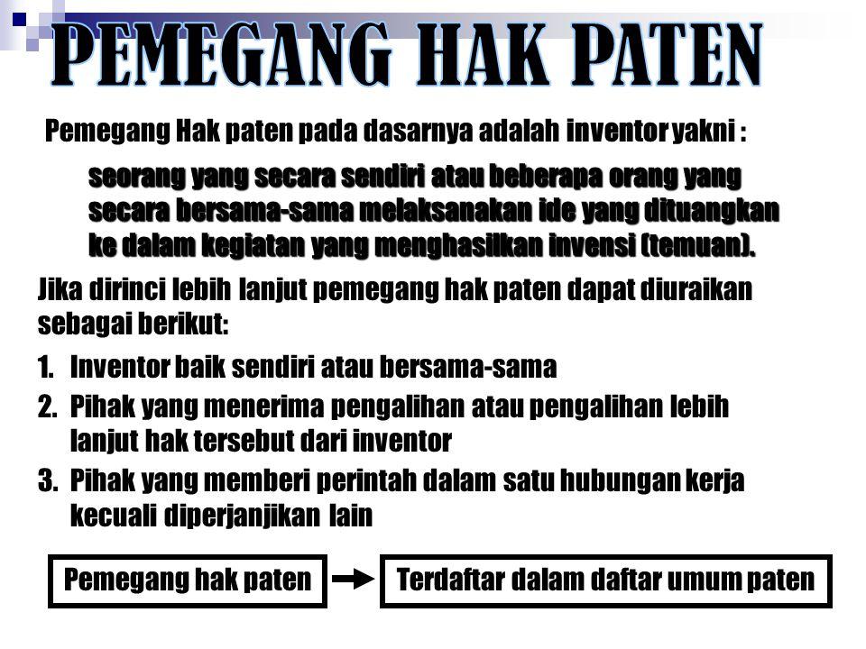 Pemegang Hak paten pada dasarnya adalah inventor yakni : 1.Inventor baik sendiri atau bersama-sama 2.Pihak yang menerima pengalihan atau pengalihan le