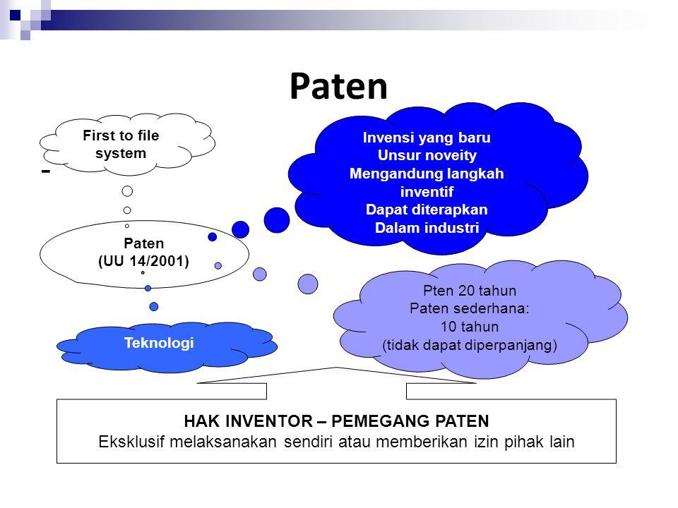 Paten dibagi atas dua bentuk yakni : 1.Paten Biasa 2.Paten Sederhana Merupakan invensi di bidang teknologi yang dapat berupa produk, atau proses, atau penyempurnaan dan pengembangan produk atau proses Merupakan invensi di bidang teknologi yang mengutamakan kemanfaatan dari bentuk atau model sebagai fungsi pemecahan masalah