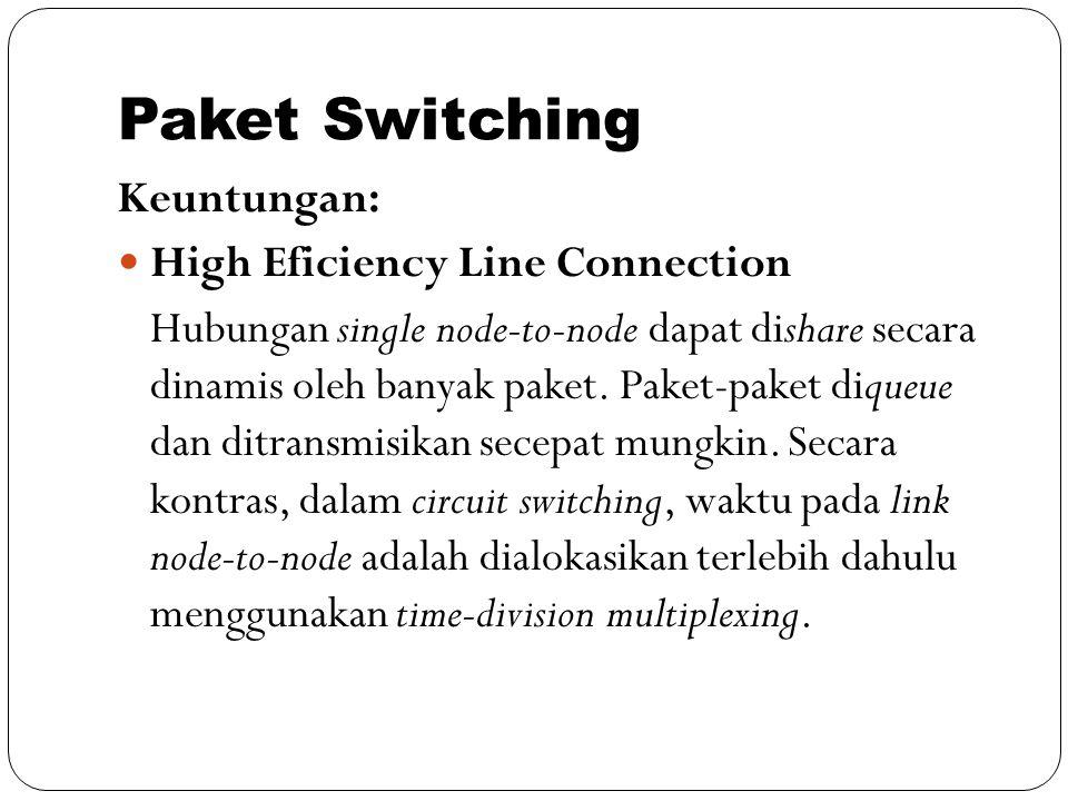 Paket Switching Keuntungan: High Eficiency Line Connection Hubungan single node-to-node dapat dishare secara dinamis oleh banyak paket. Paket-paket di