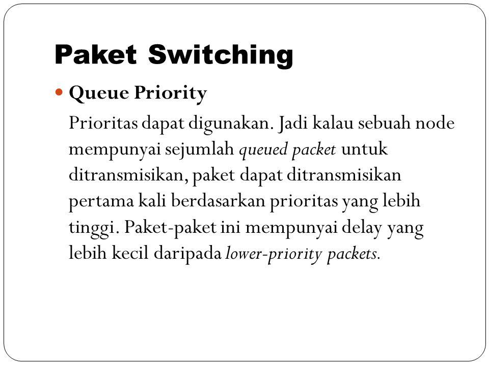 Paket Switching Queue Priority Prioritas dapat digunakan. Jadi kalau sebuah node mempunyai sejumlah queued packet untuk ditransmisikan, paket dapat di